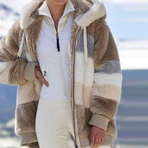 Dámský plyšový kabát na zip