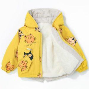 Dětská fleecová parka s kapucí a roztomilým potiskem