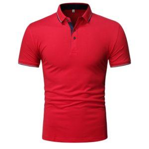 Pánské ležérní jednobarevné kvalitní triko s límečkem a krátkým rukávem
