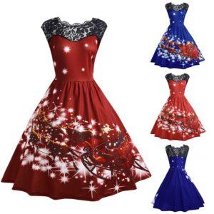 Dámské šaty s vánočním vzorem